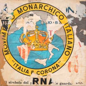 Mimmo Rotella Italia e Corona , 1962 Decollage on canvas 22.4 x 22.4 in / 57 x 57 cm Courtesy Tornabuoni Art