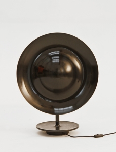 Eric Schmitt Sugegasa table lamp, 2013 Polished and lacquered brass and patinated cast steel Limited-edition Courtesy Dutko Gallery