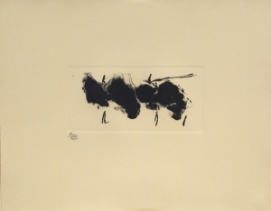 Robert Motherwell, Automatism Elegy (State II Buff), 1980, Lithograph, Edition of 50, 40.3 x 50.8 cms (15 7/8 x 20 ins) Image courtesy of Bernard Jacobson Gallery