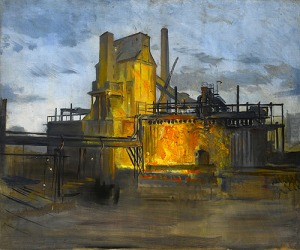 Study for a painting of the Steel Company of Wales, Newport, circa 1958 Framed (ref: 4013) Oil on canvas 26 x 30 in. (66 x 76.2 cm) Provenance: Acquired directly from the Artist's Daughter Exhibited: - A Working Method,Young Gallery Salisbury, March- April 2016, Sotheran's, April-May 2016. Literature: Charles Cundall - A Working Method, Edited by Sacha Llewellyn & Paul Liss, published by Liss Llewellyn Fine Art, February 2016.