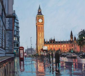 Robert Kelsey Westminster Reflections Oil on canvas 18'' x 20''