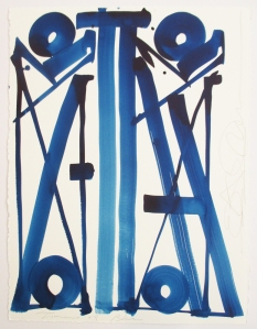 RETNA Times of blue 2014 Acrylic ink on water colour paper 30 x 22 in Courtesy Coburn Projects © RETNA