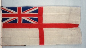 British Naval Ensign used as a battle ensign by HMS 'Chester' 1915 at the Battle of Jutland 31 May 1916. © National Maritime Museum, London