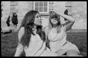 Dame Diana Rigg and Dame Helen Mirren in the grounds at Compton Verney between takes - Sir Peter Hall's film of A Midsummer Night's Dream, 1968. Photograph by David Farrell, courtesy of the David Farrell Estate (c) DFP