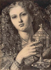 Frederick Sandys, King Pelles Daughter Bearing the Vessel of the Sangreal, 1861. Promised Gift from the Lanigan Collection ® NGC