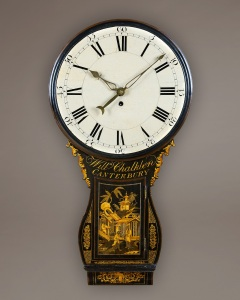 A very attractive bombe shaped tavern clock of rare small size, circa 1765 by William Chalklen of Canterbury