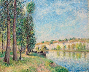 "Gladwell & Patterson Alfred Sisley. French (1839-1899) Le Loing à Moret signed and dated 'Sisley.85' (lower right) Oil on canvas, 18"" x 21½"", 46 x 55.5 cms"