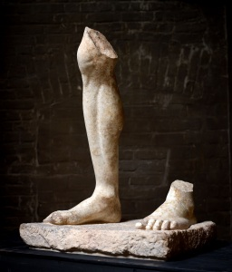 Axel Vervoordt Monumental fragment from a standing male statue Leg and Feet on base Roman 2nd century A.D. Courtesy Axel Vervoodt