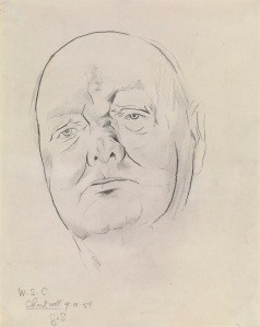 Christopher Kingzett Graham Sutherland Study of Sir Winston Churchill 1954 Black chalk and pencil 4½ x 11½ in (37 x 29.5 cm) Courtesy Christopher Kingzett