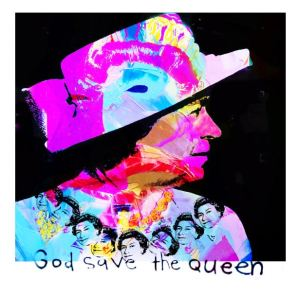 Linda Blackstone God Save the Queen by Dganit Blechner, mixed media on canvas with paint, edition of 8 with 4 artist proof