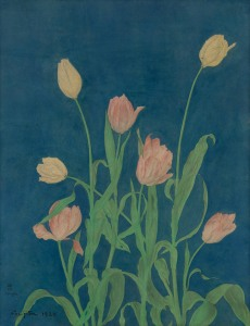 AKTIS GALLERY Exhibition: Inter-War Paris: Works on Paper Leonard Tsuguharu Foujita (1886-1968) Tulips, 1920 Watercolour and ink on paper Signed and dated lower left Countersigned in Japanese lower left