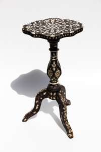 Galerie Arabesque Three-legged ottoman inlaid table. Provenance: estate of Eduard Starke-Pascha, Berlin-Constantinople