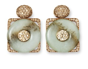 Hemmerle Hemmerle earrings, diamonds, jade, bronze, white gold. Courtesy Hemmerle.