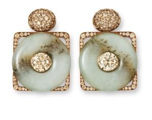 Hemmerle Hemmerle earrings, diamonds, jade, bronze, white gold. Courtesy Hemmerle.