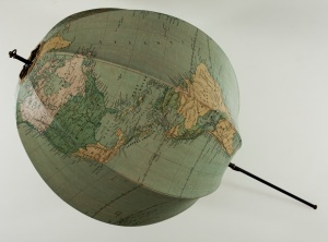 ALTEA GALLERY A collapsible globe, John Betts, Terrestrial globe, printed waxed cotton and metal spindle, c1925, globe circumference: 1,260mm extended 770 m long including spindle