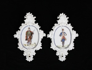 E & H MANNERS A Pair of Alcora Faience Plaques, 1752-64 Height: 52.7 cm, Width: 35.2 cm