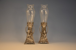 HALL-BAKKER A pair of flower vases with silvered metal frames and original liners by the German factory WMF. c 1905.