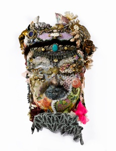 VANESSA CLEWES SALMON MODERN & CONTEMPORARY ART Shani Joel, born 1991 Buddha, 2014, mixed media eg ceramic embellished with shells, jewellery, butterflies, fabric etc 60cms h x 50cms w