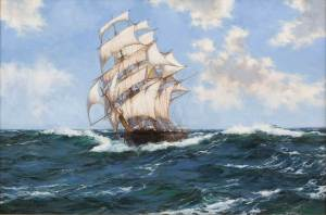 "Montague Dawson FRSA, RSMA 1895 - 1973 ""Cleaving along, the Gilchrist"" Canvas size: 20"" by 30"" Frame size: 28"" by 38"" Oil on canvas, signed"