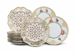 Lot 156 PRIVATE & ICONIC New York, Rockefeller Plaza Jun 22, 2016 A SET OF ELEVEN ITALIAN PORCELAIN DINNER PLATES AND A SET OF TWELVE DRESDEN PORCELAIN PLATES Price Estimate: 600 - 800 U.S. dollars