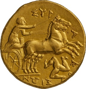 KALLOS GALLERY Exhibition: Horses, Rulers and Victory in the Art of Ancient Greek Coinage Gold Drachm of Syracuse (Sicily), c.317-310BC Minted under Agathocles (317-289BC)