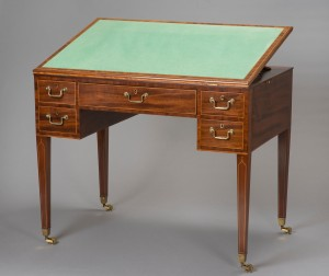 Writing table, 1796, mahogany and boxwood Royal Collection Trust © Her Majesty Queen Elizabeth II 2016.