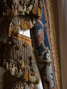 Beauvais tapestry manufactory, Large door curtain mounted with sections of Beauvais tapestry, and large rope tie-back, 1685-1689 {assembled later}; Photo Rachel Boak © The National Trust, Waddesdon Manor