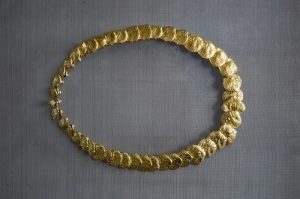 Claude Lalanne, Mimosa, ca.1970, Necklace, polished bronze dore, 35.8 x 1.4 x 0.4 cm, edition of 250 courtesy of the artist and Louisa Guinness Gallery,