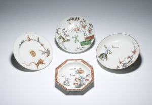 Four Kakiemon style dishes from Japan, China, Germany and Britain, 17th-18th centuries © The Trustees of the British Museum