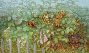 Jane Wormell Blackberry Hedge II Oil on linen 12 x 20ins (30.5 x 50.8cm)