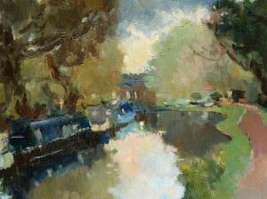 Julia Hawkins Quiet Evening at Pyrford Lock Oil on canvas 14 x 18ins (35.6 x 45.7cm)