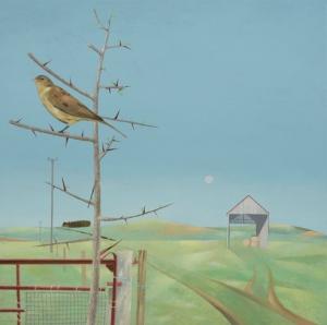Tom Mabon Bird and Rising Moon Oil on linen 18 x 18ins (45.7 x 45.7cm)