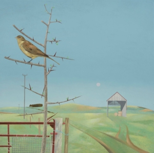 Tom Mabon Bird and Rising Moon Oil on linen 18 x 18ins (45.7 x 45.7cm)