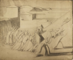 Winifred Knights, Cartoon for The Deluge, 1920, Pencil on paper, squared, 147.3 x 177.8 cm, The Wolfsonian – Florida International University, Miami Beach, Florida, The Mitchell Wolfson, Jr Collection. © The Estate of Winifred Knights