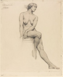 Winifred Knights, Full-length Seated Female Nude, three-quarter view, 1917, 39 x 31.5 cm, UCL Art Museum, 6055, University College London. © The Estate of Winifred Knights