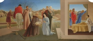 Winifred Knights, Scenes from The Life of Saint Martin of Tours, c.1928-33, Oil (or possibly tempera) on canvas with glazing, 73 x 159.5 cm, Milner Memorial Chapel, Canterbury Cathedral. Reproduced courtesy of the Dean and Chapter, Canterbury Cathedral. © The Estate of Winifred Knights