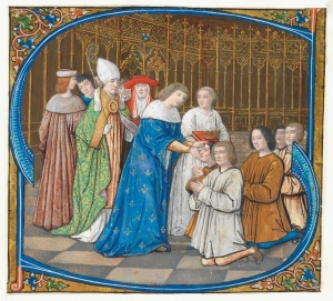 Historiated initial from a Gradual, Louis XII healing the sick (c. 1500) Paris, Northern France © The Fitzwilliam Museum, Cambridge.