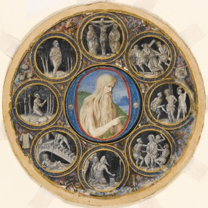 Historiated initial mounted within a roundel with medallion scenes, John the Baptist, Hermit Saints and scenes of Christ's Passion. Bologna, Parma, Italy, 1490-1500. © The Fitzwilliam Museum, Cambridge.