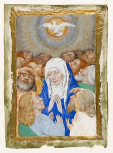 Miniature, Pentecost showing the Virgin surrounded by the twelve apostles. Hainaut, Valenciennes, circa 1480-1490. Marmion, Simon (follower or assistant of). © The Fitzwilliam Museum, Cambridge.