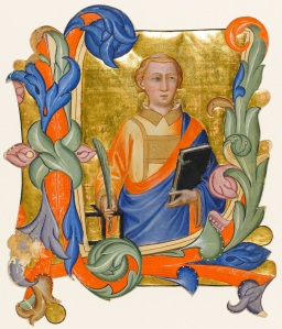 Historiated initial from an Antiphoner, St Lawrence holding a palm branch, the gridiron and a book (c. 1390) Don Silvestro dei Gherarducci, Niccolo Rosselli, Cenni di Francesco di Ser Cenni Florence, Italy © The Fitzwilliam Museum, Cambridge.