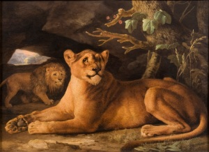 George Stubbs A Lion and Lioness 1778 Enamel on Wedgwood ceramic 43.1 x 61.6 cm The Daniel Katz Gallery, London