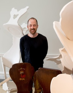 Artist Will Datson with 'Chair Play' and two of the original chairs Credit: Jack Nelson