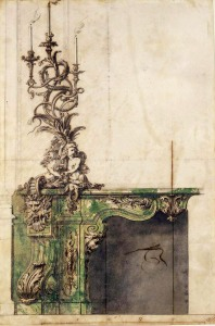 Gilles-Marie Oppenord, Design for a salon chimney-piece, presumed to be for the Palais-Royal, Paris, c 1717; Photo Mike Fear (c) The National Trust, Waddesdon
