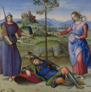 Raphael An Allegory ('Vision of a Knight') about 1504 Oil on poplar 17.1 x 17.3 cm © The National Gallery, London