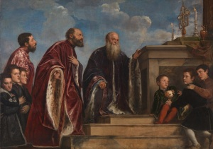 Titian The Vendramin Family, venerating a Relic of the True Cross Begun about 1540-3, completed about 1550-60 Oil on canvas 206.1 x 288.5 cm © The National Gallery, London
