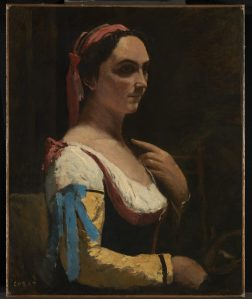 Jean-Baptiste-Camille Corot Italian Woman, or Woman with Yellow Sleeve (L'Italienne) about 1870 Oil on canvas 73 x 59 cm © The National Gallery, London
