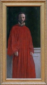 George Frederic Watts Self Portrait in a Red Robe, about 1853 Oil on canvas 154.9 × 74.9 cm Frame: 179 × 100.5 × 9.5 cm © Watts Gallery (COMWG2014.10)