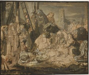 Rembrandt Lamentation over the Dead Christ, about 1634-1635 Pen and brown ink and brown wash, with red and perhaps some black chalk, reworked in oils 'en grisaille'; framing lines in thin black oil paint; on paper 21.6 × 25.4 cm © The British Museum, London (Oo,9.103)