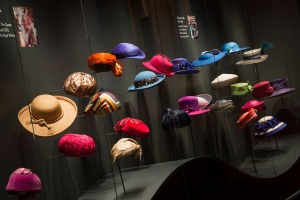 A display of The Queen's hats from Fashioning a Reign: 90 Years of Style from The Queen's Wardrobe at Buckingham Palace. Royal Collection Trust /© Her Majesty Queen Elizabeth II 2016.