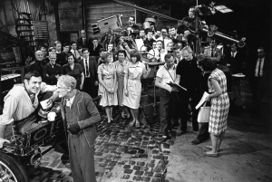 Steptoe and Son, Harry H. Corbett as Harold Steptoe, Wilfrid Brambell as Albert Steptoe & Duncan Wood with various cast members & studio crew, 1965, Copyright BBC